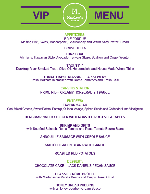 Check Out the Marlows Tavern VIP Menu!